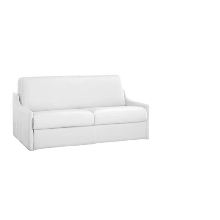 canap convertible luna vrai cuir blanc 120x190 achat vente canap sofa divan cuir. Black Bedroom Furniture Sets. Home Design Ideas