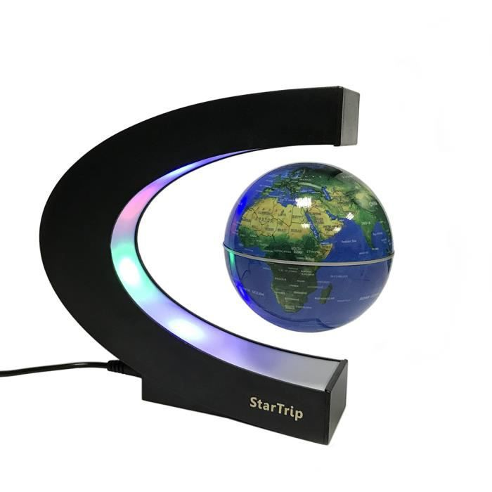 cr atif globe terrestre lumineux flottant magn tique levitation globe lamp avec lumi res led et. Black Bedroom Furniture Sets. Home Design Ideas