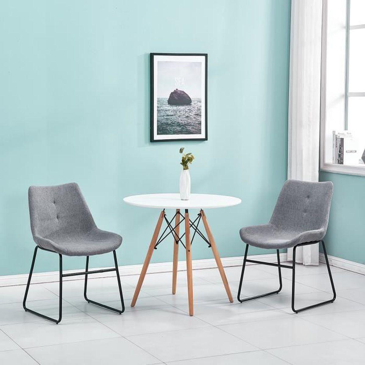 Salle A Manger Retro lot de 2 chaises gris de salon salle à manger style vintage
