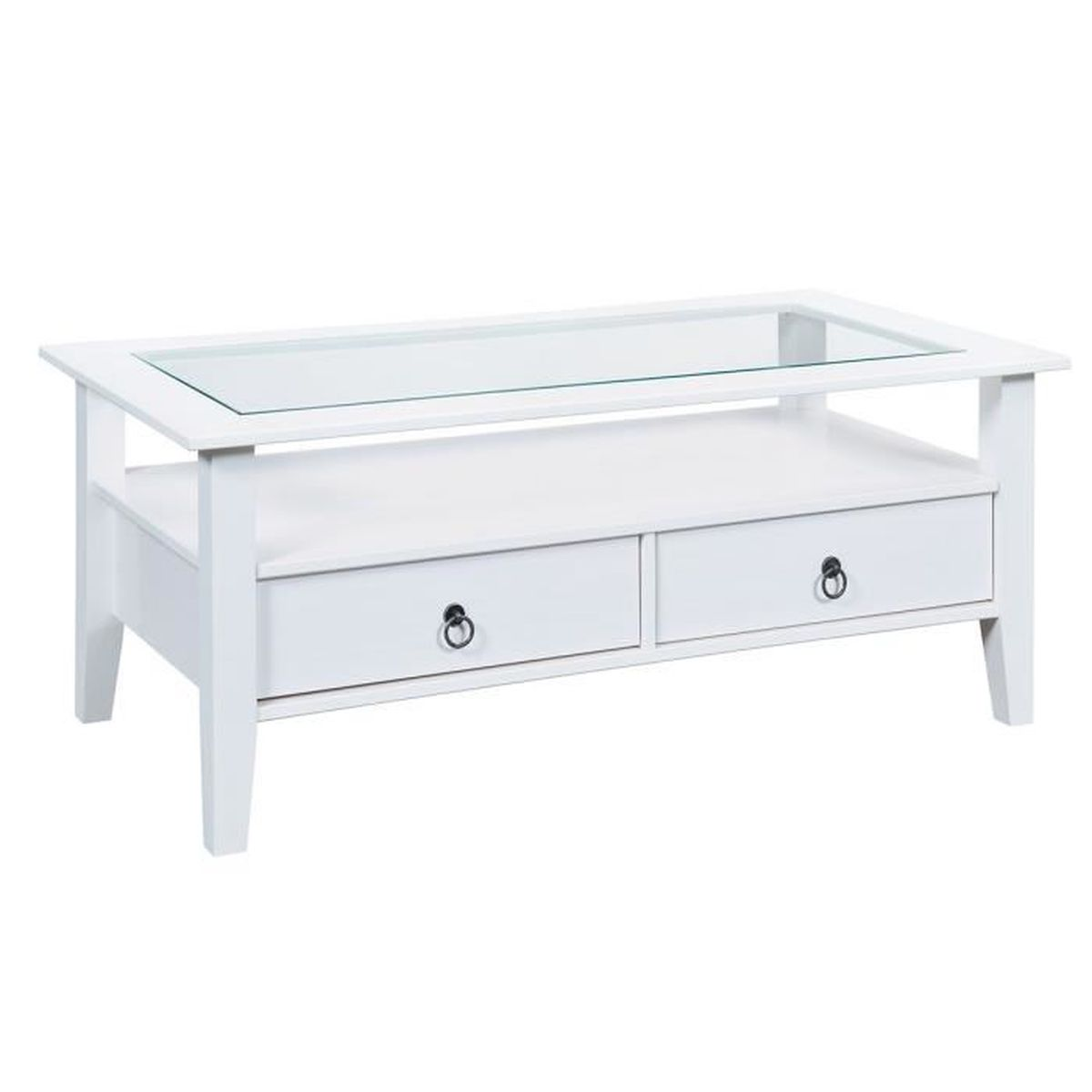 Table basse bois blanc et verre for Table basse blanc bois
