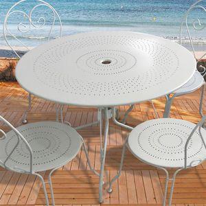 Table de jardin ronde en acier Blanc O100cm - Achat / Vente ...