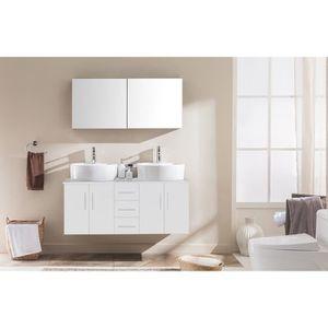 SALLE DE BAIN COMPLETE Meuble de salle de bain Ambre 2 vasques + 1 miroir