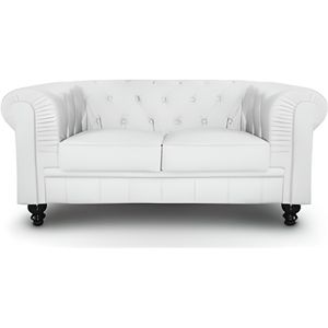 CANAPÉ - SOFA - DIVAN CANAPÉ 2 PLACES BLANC CHESTERFIELD