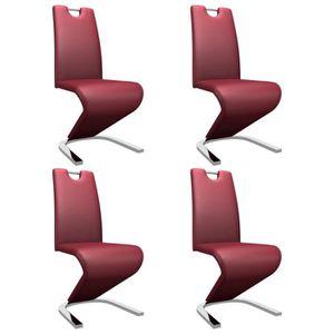 CHAISE Cent Shopping Chaises à dîner forme de zigzag 4 pc
