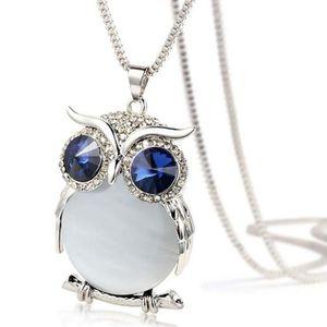 SAUTOIR ET COLLIER Femmes Owl Pendentif diamant chandail longue chaîn