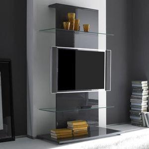 MEUBLE TV Meuble tv gris laqué design PACOME Gris L 104 x P