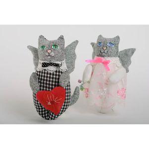 COFFRET THÉMATIQUE Peluches chats faites main set de 2 pièces en coto