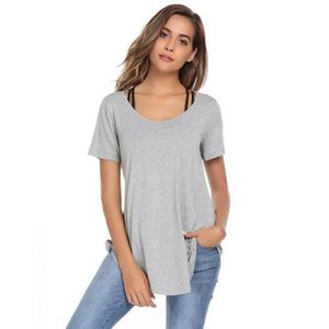 T-SHIRT T-shirt Femmes Sexy Casual O-Neck Solid Backless