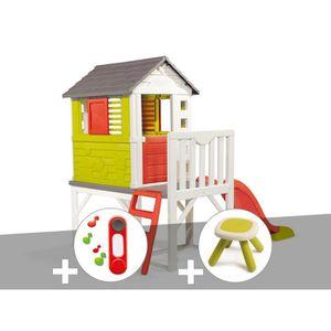 MAISONNETTE EXTÉRIEURE Cabane enfant Pilotis - Smoby + Sonnette + Taboure