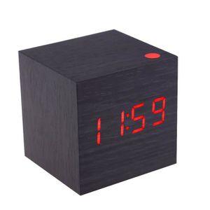 RÉVEIL SANS RADIO Reveil en bois carre numerique classique de multif