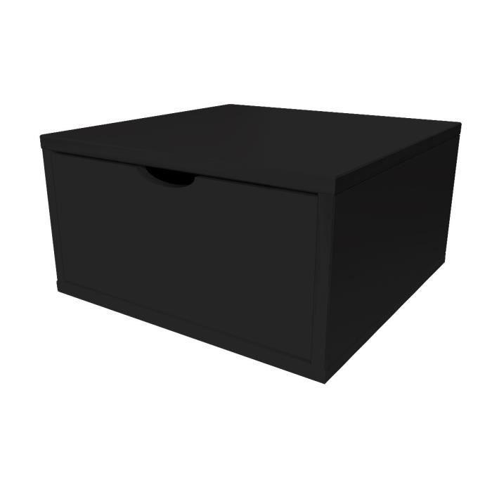 Cube de rangement largeur 50 cm + tiroir - Couleur - Noir