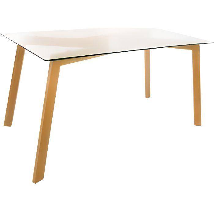 Table Taho - 150 x 80 x 74 cm - Verre - Transparent 80 cm