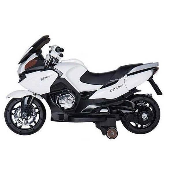 Gran Turismo 12v France Blanc - Moto électique pour enfant avec batterie