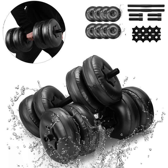 Haltère rempli d'eau Poids de la main Bodybuilding Gym Exercise Bras Muscle Training @4231