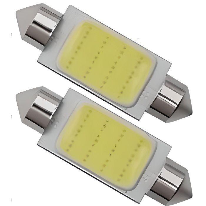 2 x Ampoule LED C5W 36mm COB 12 leds Blanc Xénon pour plafonnier coffre Habitacle 12V