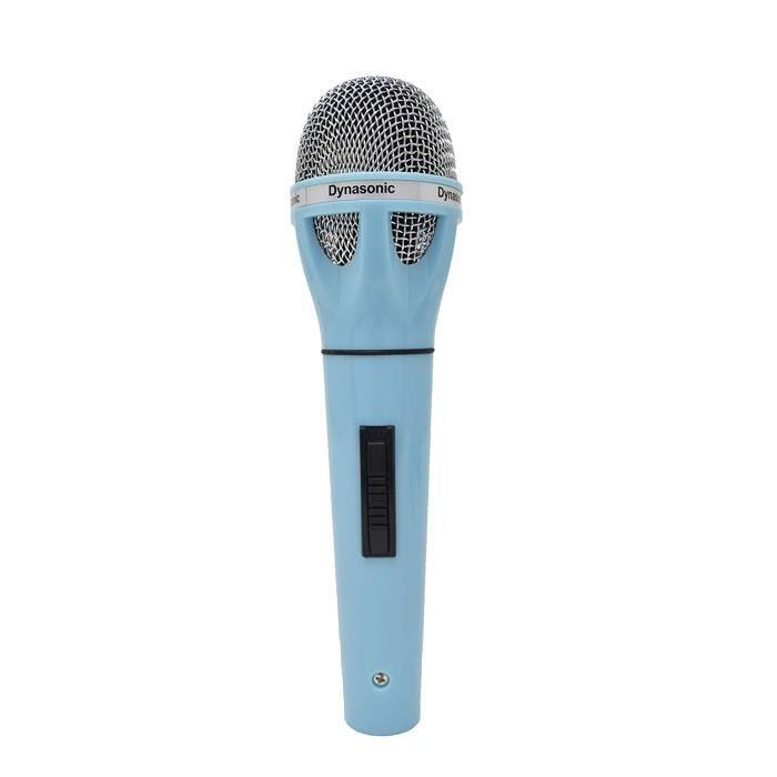 DYNASONIC Microphone connectable pour karaoké et Adaptateur (Bleu Foncé)