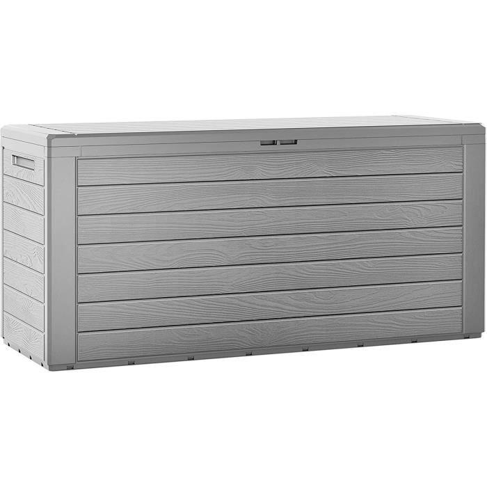 Coffre de rangement -Woody- en plastique gris 120x46x57 cm 300 L malle de stockage pour jardin couvercle pliable dispositif de fer