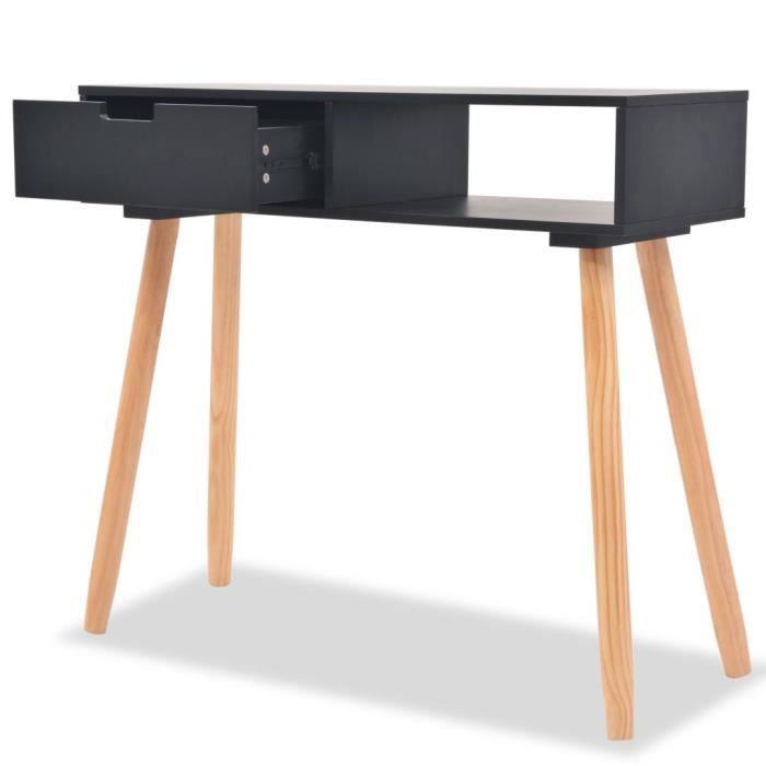 PRO© Table console Décor - Table d'appoint Table de séjour Bois de pin massif 80 x 30 x 72 cm Noir 60656 :-)