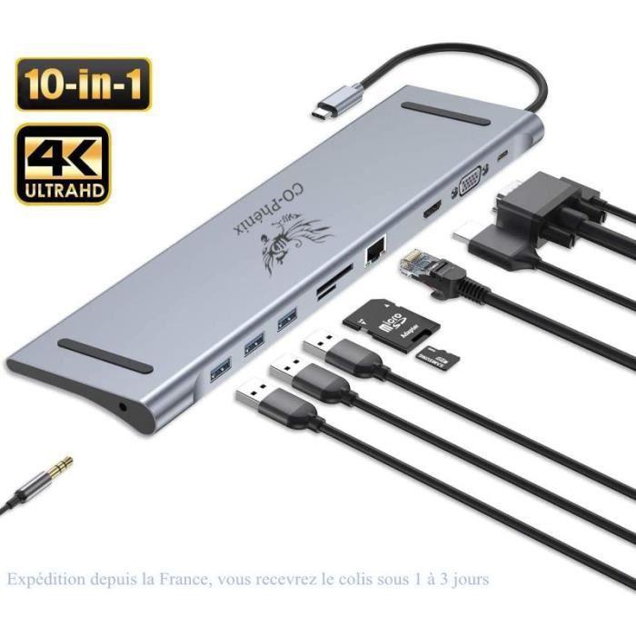 Hub USB C 10 en 1 Station d'accueil Macbook concentrateur en Aluminium avec Gigabit Ethernet HDMI VGA pour MacBook Pro/Air