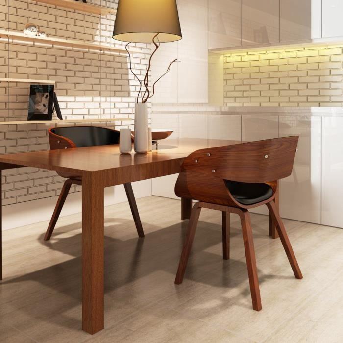 Lot de 2 chaises à accoudoirs confortable salle à manger brun