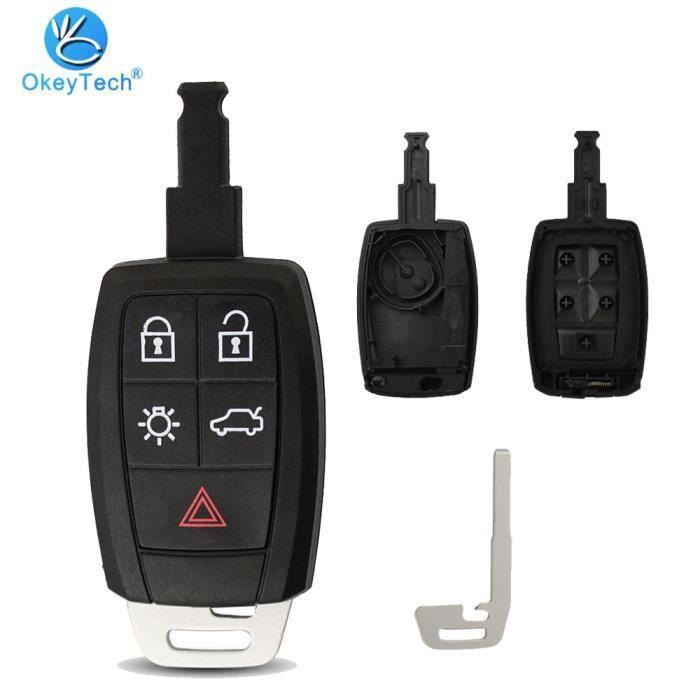 Coque clé,OkeyTech coque de clé télécommande intelligente, pour voiture Volvo C70, C30, V40, V50, avec Insert lame vierge à 5