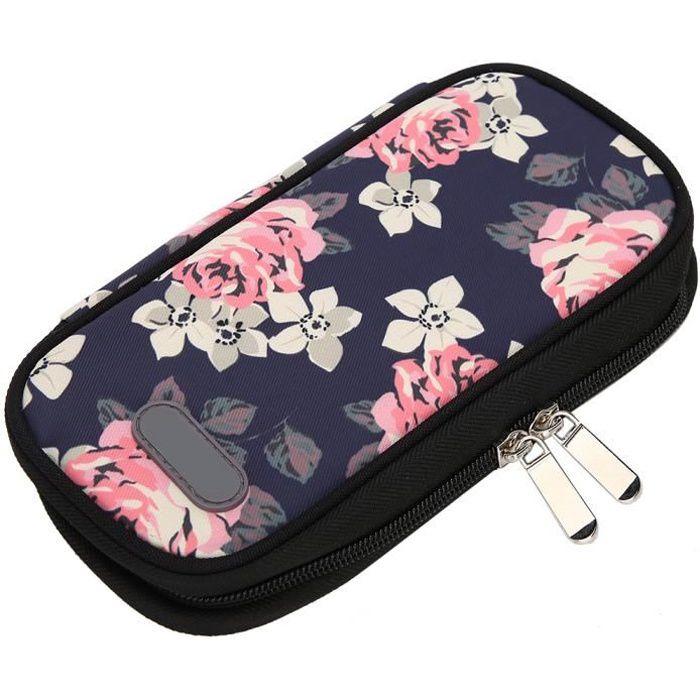 Drfeify sac à insuline Sac isotherme réfrigéré à insuline portable pour les soins des patients (fleur rouge à fond noir)