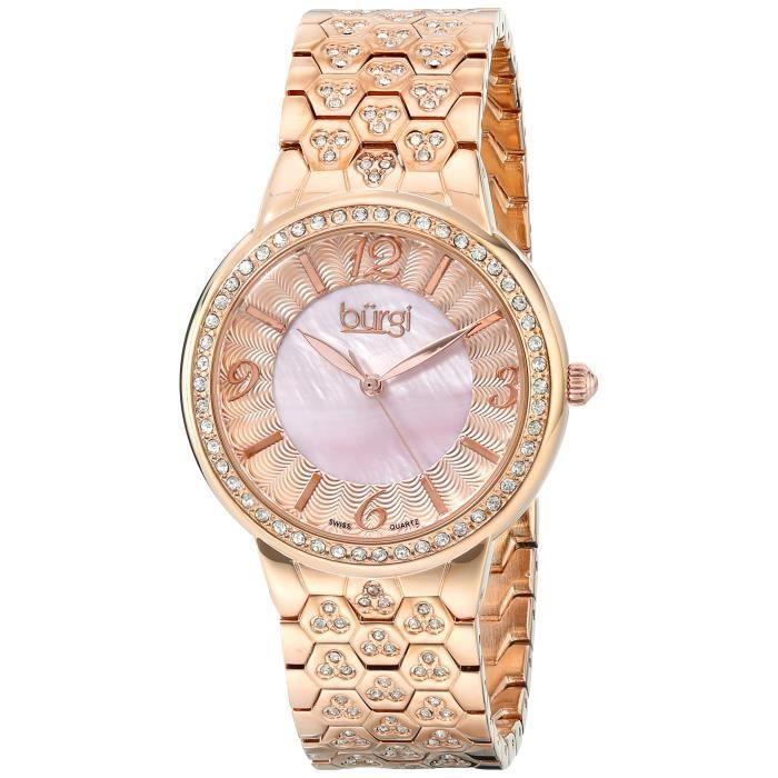 BURGI Bur115rg suisse Quartz Accented nacre de perle guilloché Bracelet en or rose Montre YKVH9