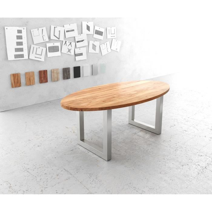 Table-de-salle-à-manger Edge acacia nature ovale 200x100 acier inoxydable large