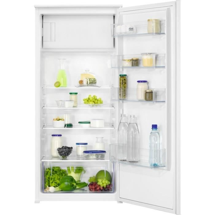 FAURE FEAN12FS1 - Réfrigérateur 1 Porte Encastrable - 187L (173 + 14) - Froid Statique- L 56 x H 122.5 cm - Fixation Glissière