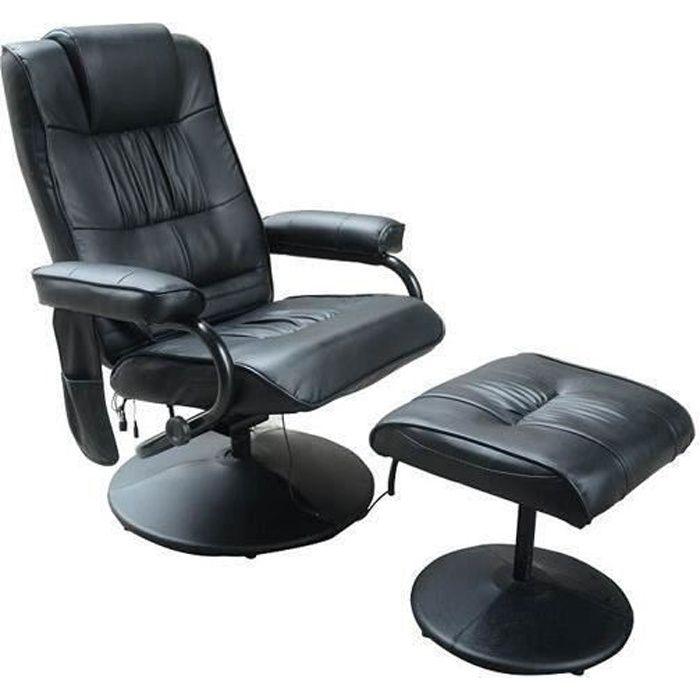 Fauteuil de massage vibration electrique relaxation avec chauffage noir 67bk