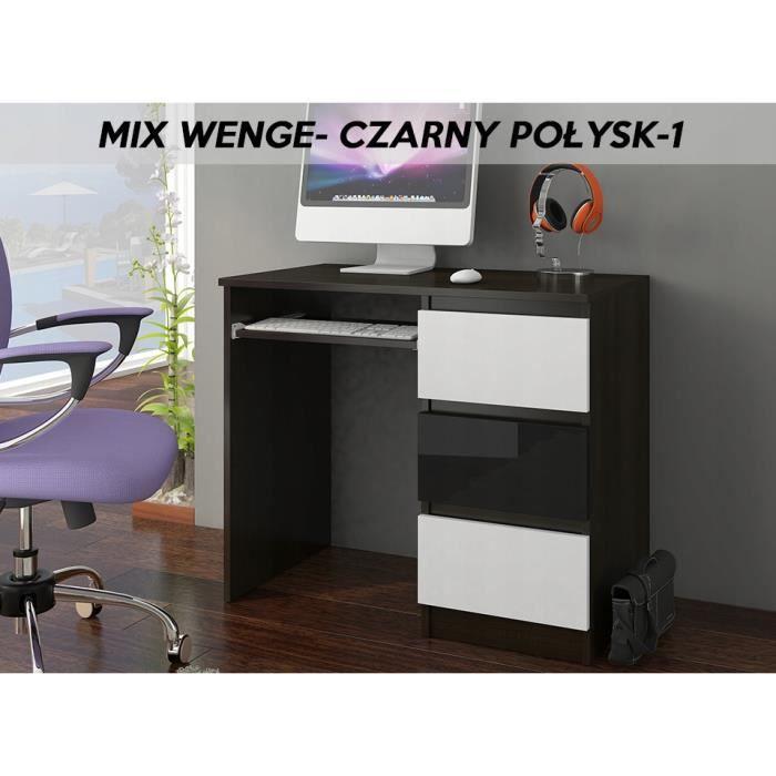 YORK 1WR- Bureau moderne d'ordinateur 96x50x76 - Chambre Ado - Support clavier-3 tiroirs - Wengé-Blanc-Noir