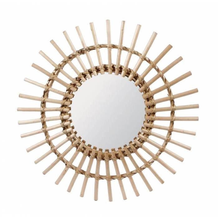Fantastique Miroir Tendance Glace Décorative Ronde Design Soleil Armature Naturel en Rotin 3x55x55cm Marron