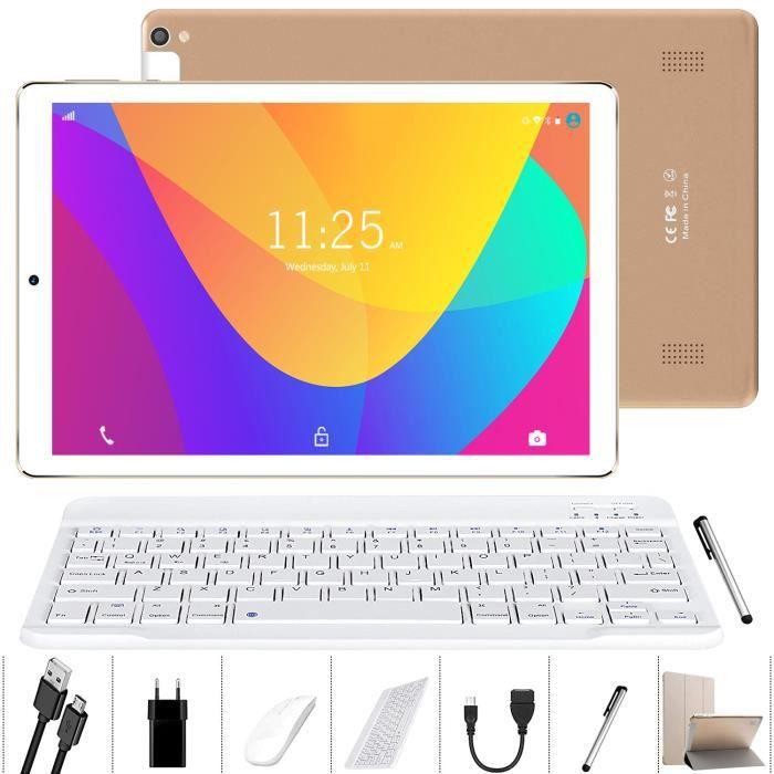 Tablette Tactile 10 pouces Lnmbbs K107 3G/Wifi Android 9.0 4 Go Ram Stockage 32 Go Quad Core Double Sim Blanc