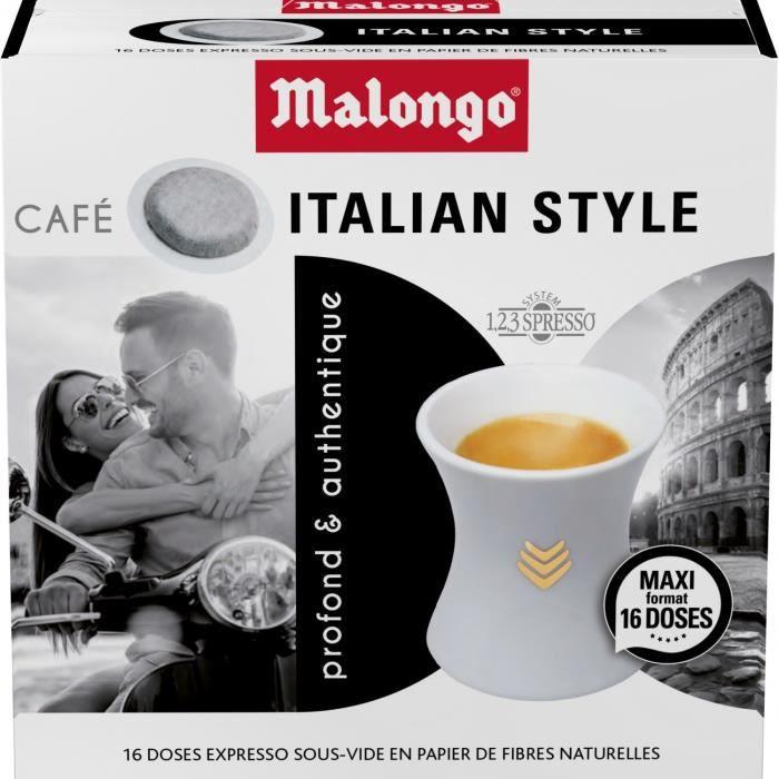 LOT DE 2 - MALONGO Expresso Italian Style - 16 dosettes de café Compatibles 123 spresso