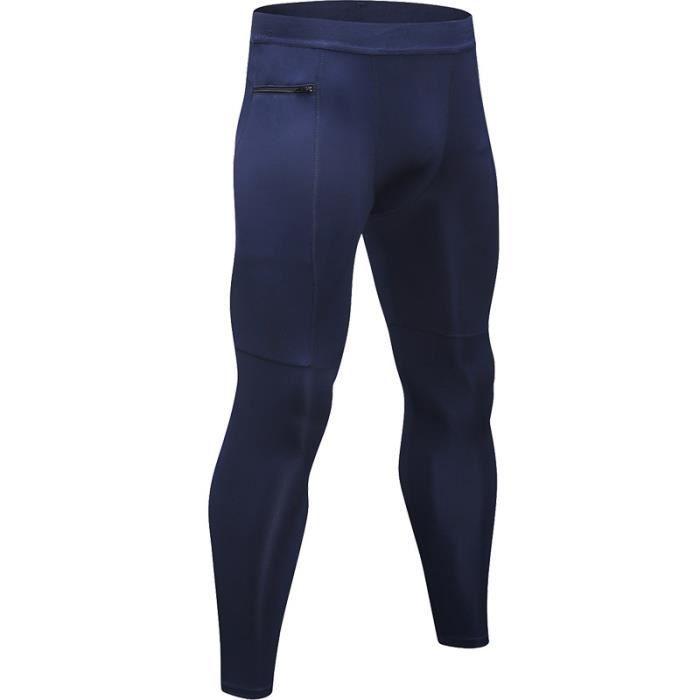 Legging Sport Homme Pantalon de Fitness Avec Poche Zippée de Compression Collant Running Séchage Rapide