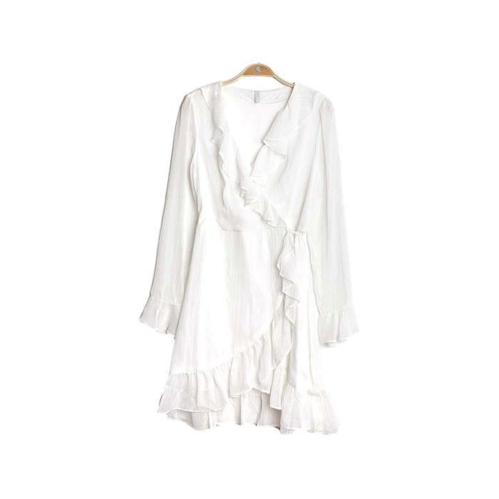 Cache Cœur - Robe Femme Portefeuille (Blanc - S)