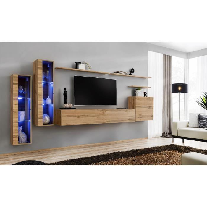 Ensemble meuble salon mural SWITCH XI design, coloris chêne Wotan. 40 Marron