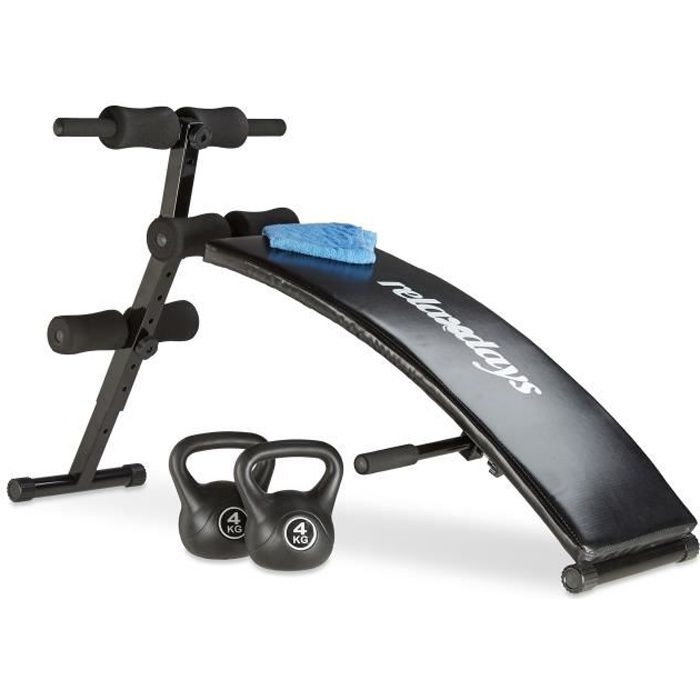 Relaxdays Banc Sit Up musculation abdominaux dos appareil de fitness rembourré entraînements exercices 6 positions, noir