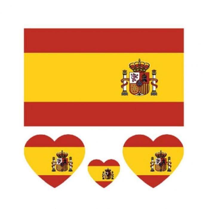 Drapeau National Tattoo Autocollants fans de football Parti Coupe d'Europe des autocollants promotionnels Espagne 100PCS