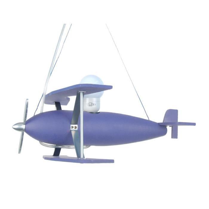 AVION Suspension bois hêtre tôle métal - 40x40x60 cm - Bleu Violet