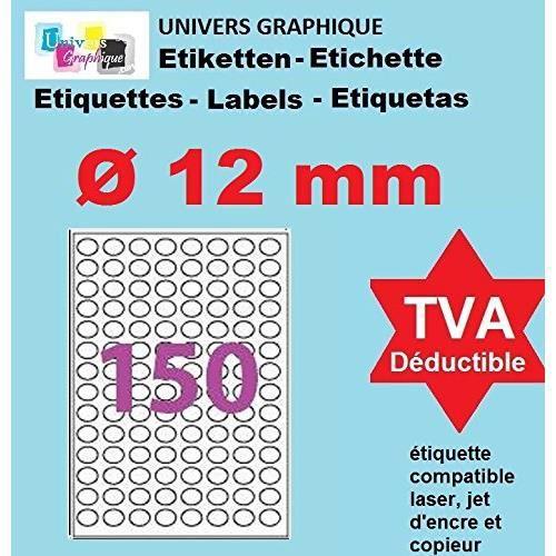 20 Planches de 150 mini étiquette rondes diamètre 12 mm = 3000 étiquettes Ø 12 - Blanc Mat - pour imprimantes Laser et Jet d'encre