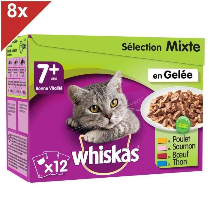 WHISKAS 96 Sachets fraîcheur en gelée sélection mixte chat senior 100g (8x12)