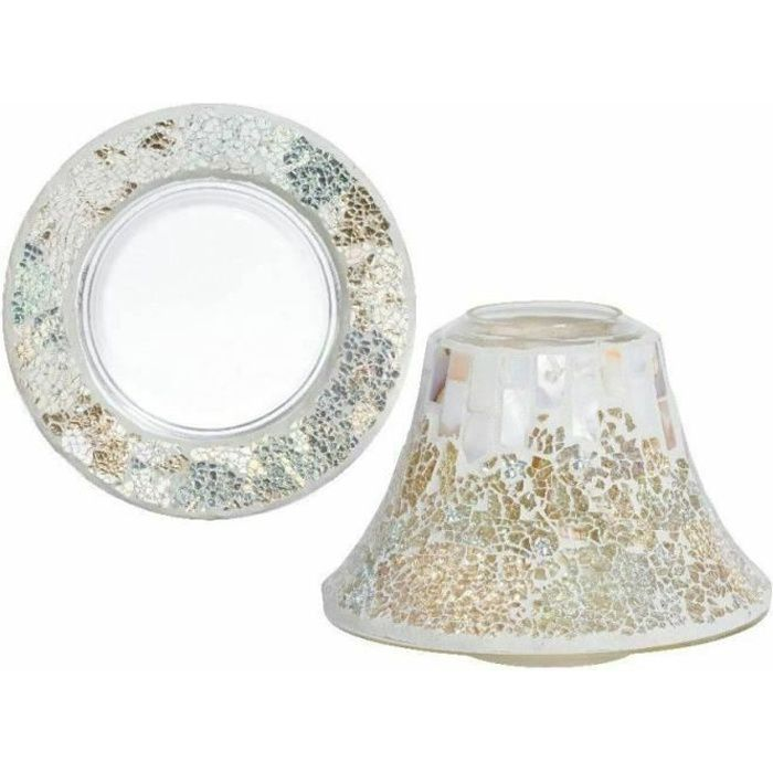 Yankee Candle - Set grand abat-jour et plateau Gold and Pearl Crackle
