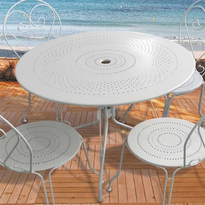 table de jardin ronde en acier blanc o100cm achat vente table basse jardin table de jardin. Black Bedroom Furniture Sets. Home Design Ideas
