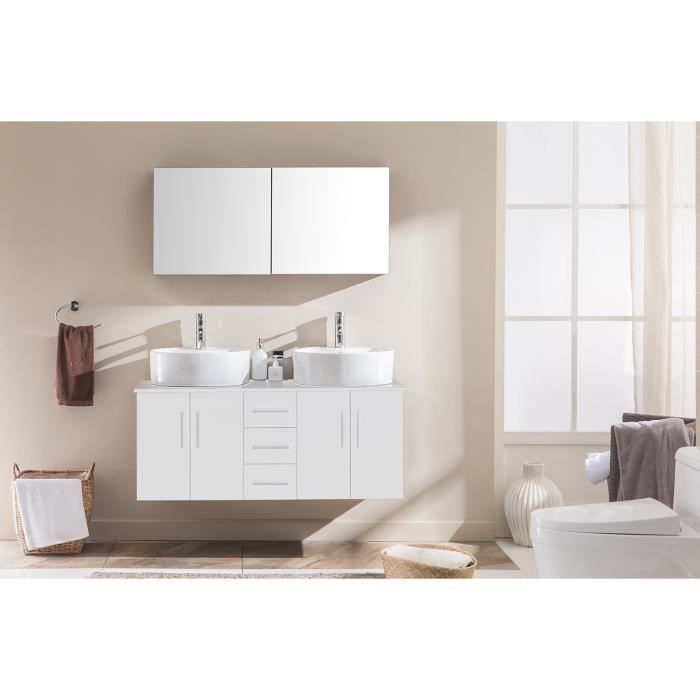 meuble de salle de bain ambre 2 vasques 1 miroir blanc. Black Bedroom Furniture Sets. Home Design Ideas