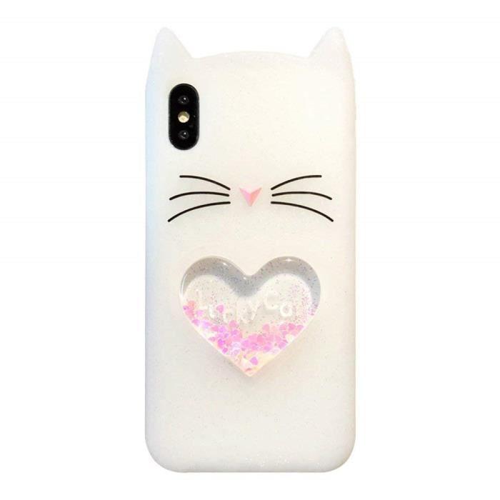 coque pour Huawei P9 Lite. blanc cœur Barbe ventre liquide chat mignon fille quicksand coulant des paillettes de paillettes bling