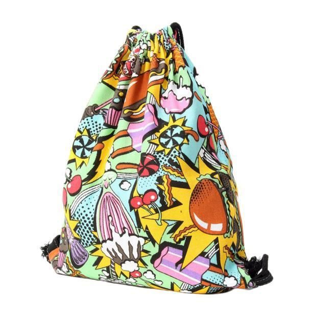 7327 À Belle Mignon Dos Impression Populaire Backpack 3d Sacs Blanc Créatif Unisexe Drawstring ly OH6waa