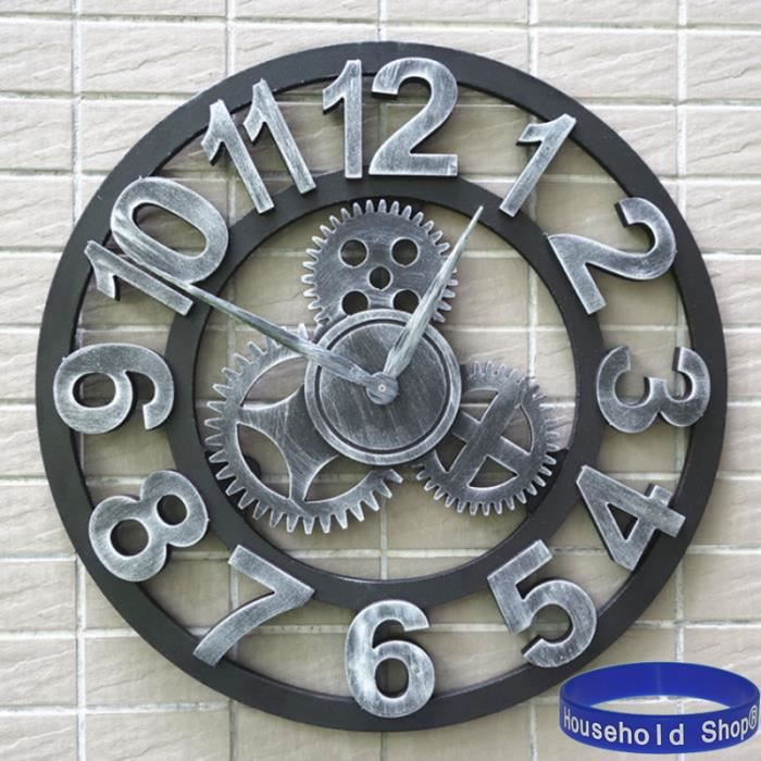 household shop 3d horloge rouage murale en m tal 45cm achat vente horloge cdiscount. Black Bedroom Furniture Sets. Home Design Ideas