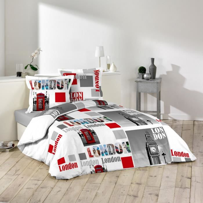 housse de couette 220x240 london brittany100 coton 42 fils cm 2 taies achat vente housse. Black Bedroom Furniture Sets. Home Design Ideas