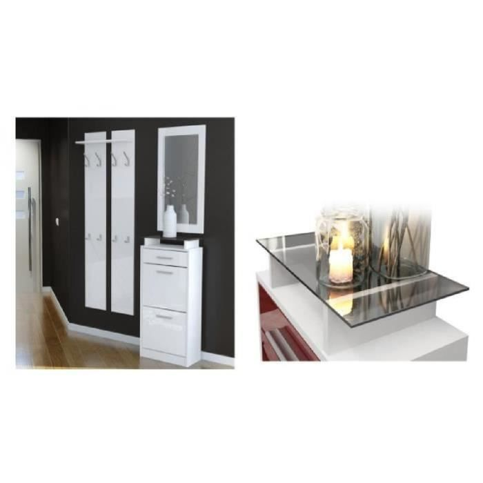 Ensemble de hall d 39 entr e laqu design noir et blanc achat vente meuble tag re ensemble de - Meuble hall d entree ...